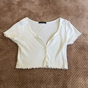 White brandy Melville cropped shirt.